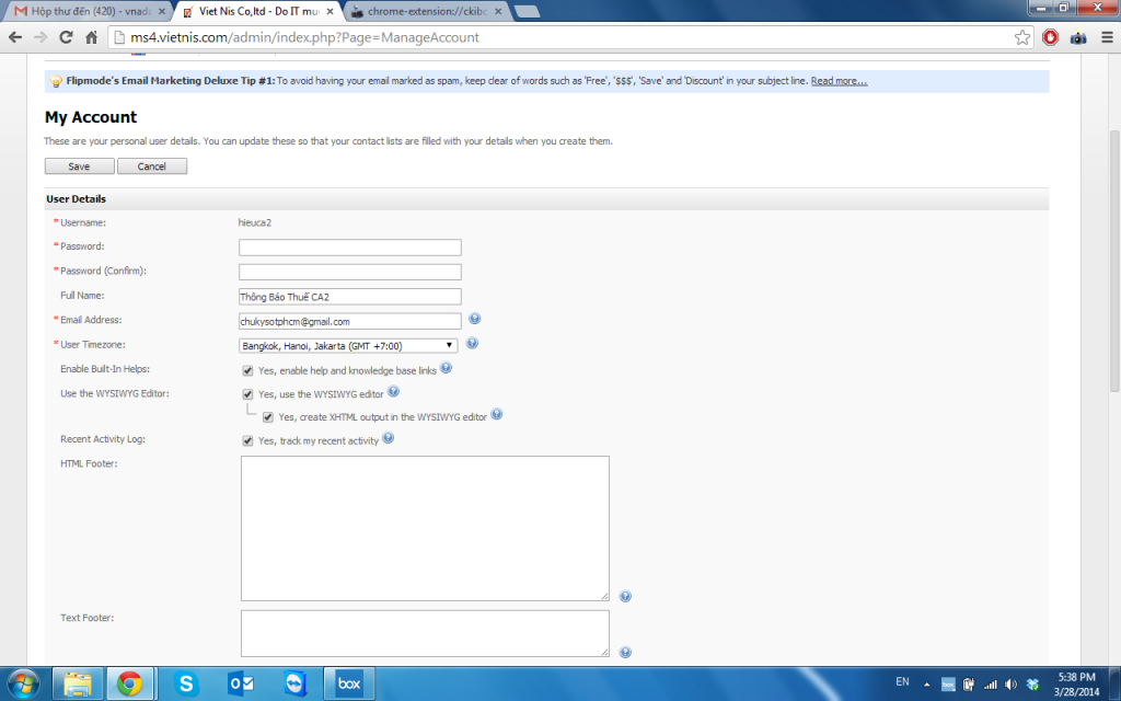 My Account Việt Nis Mail