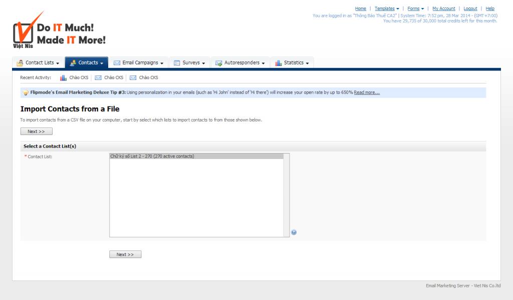 Import dữ liệu vào contact list - Việt Nis Mail - Bước 1