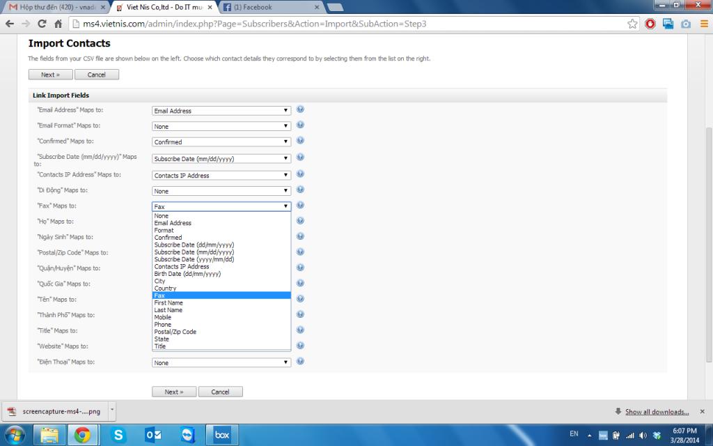 Import dữ liệu vào contact list - Việt Nis Mail - Bước 3