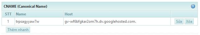 Xác thực domain Google Apps bằng Cname