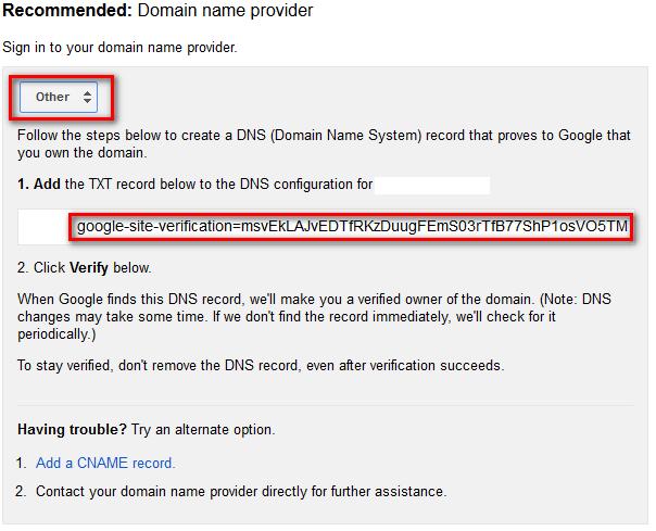 Thông tin xác thực domain bằng TXT