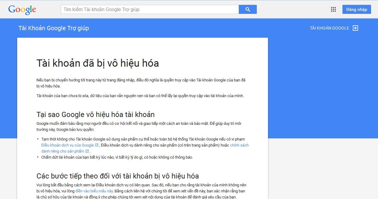 [Lỗi] Tài khoản đã bị vô hiệu hóa – Gmail / Google Apps