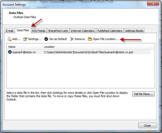 [Hướng dẫn] Sao lưu dữ liệu email trong Outlook