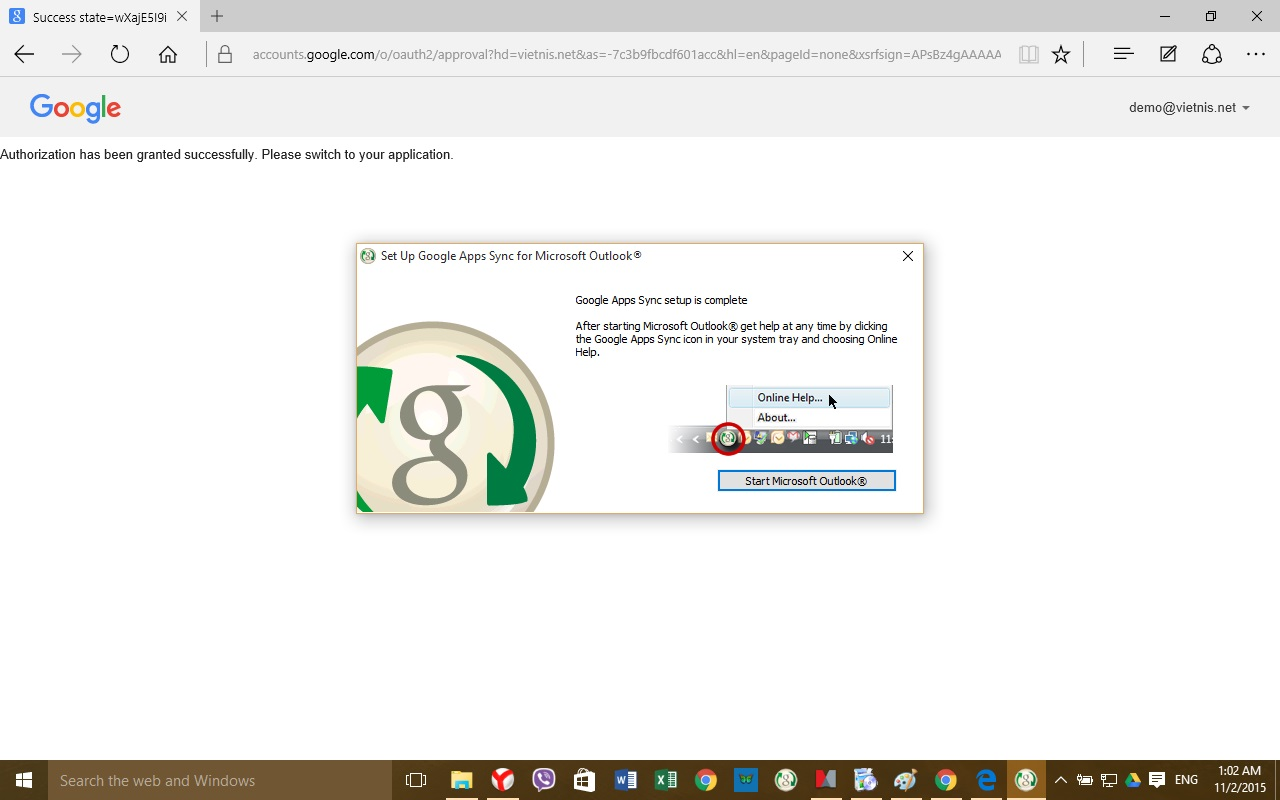 Hướng dẫn cài đặt Google Apps Sync vào Outlook
